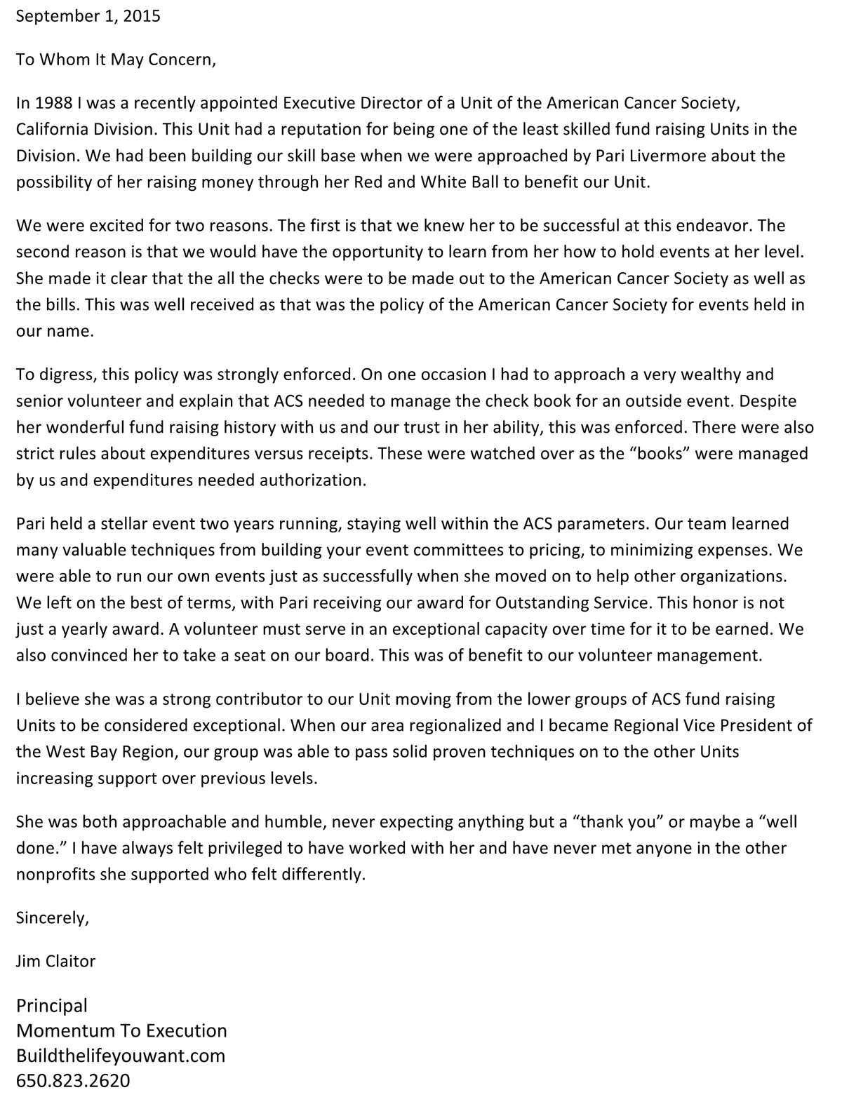 American Cancer Society letter of support