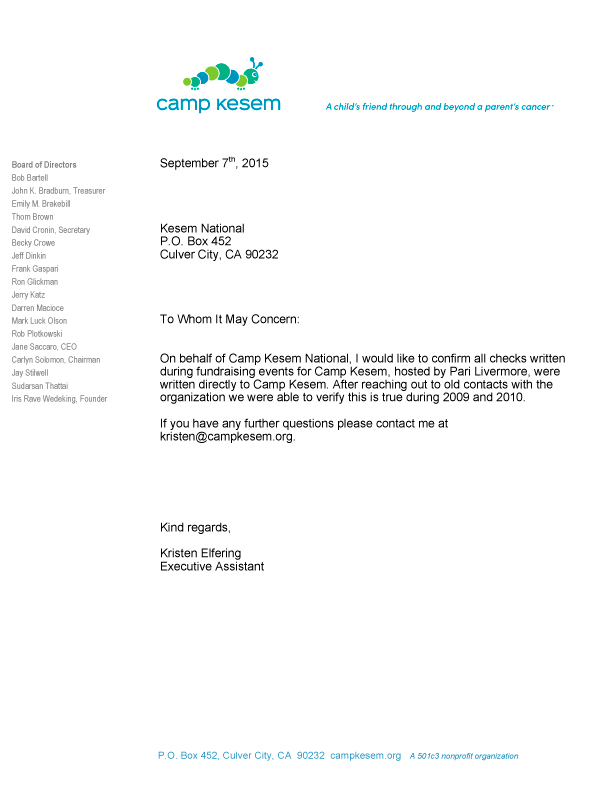Camp Kesem letter of support